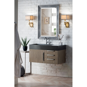 """36"""" Ash Gray Cabinet / Glossy White Top Product View"""