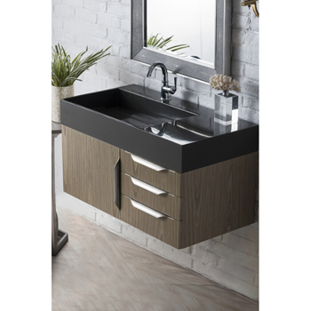 """36"""" Ash Gray Cabinet / Glossy Dark Gray Top Product View"""