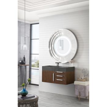 """36"""" Coffee Oak Cabinet / Glossy Dark Gray Top Side View"""