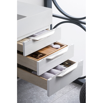 """36"""" Glossy White Cabinet Tiered Drawer View"""