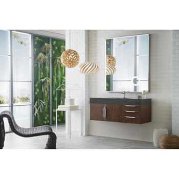 """48"""" Coffee Oak Cabinet / Glossy Dark Gray Top Side View"""