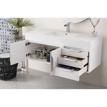 """48"""" Glossy White Cabinet Inside View"""