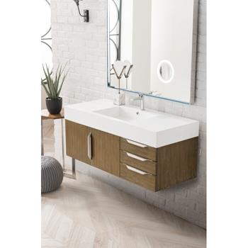 "48"" Latte Oak Cabinet / Glossy White Top View"