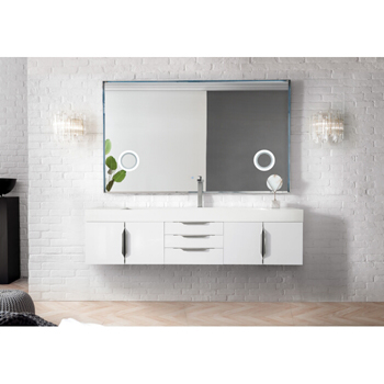 """72"""" Glossy White Cabinet Front View"""
