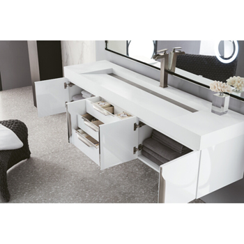 """72"""" Glossy White Cabinet Inside View"""
