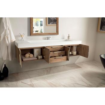 """72"""" Latte Oak Cabinet Inside View"""