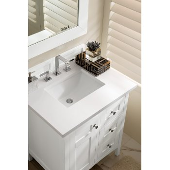 Palisades 30 W Or 36 W Single Bathroom Vanity In Bright White Or Silver Gray With Satin Nickel Hardware And Countertop Options By James Martin Furniture Kitchensource Com
