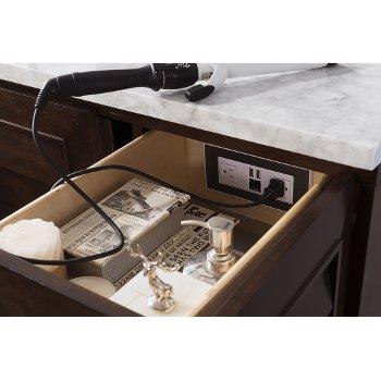 "48"" Burnished Mahogany 3cm Carrara Marble Top Close Up Drawer View"