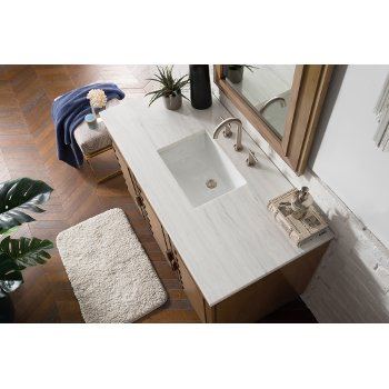 """48"""" White Washed Walnut 3cm Arctic Fall Top Overhead View"""
