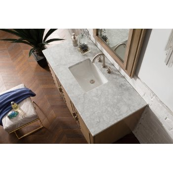 """48"""" White Washed Walnut 3cm Carrara Marble Top Overhead View"""