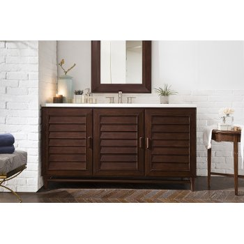 """60"""" Burnished Mahogany 3cm Arctic Fall Top Front View"""