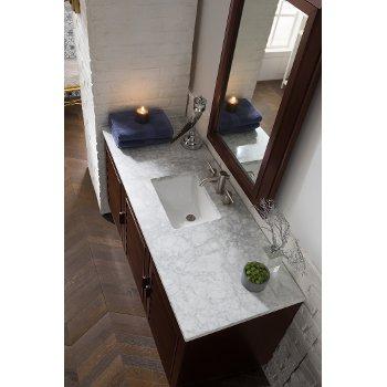"60"" Burnished Mahogany 3cm Carrara Marble Top Overhead View"
