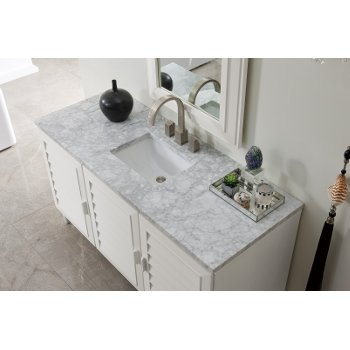 """60"""" Cottage White 3cm Carrara Marble Top Overhead View"""