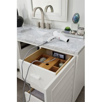 """60"""" Cottage White 3cm Carrara Marble Top Drawer Opened View"""