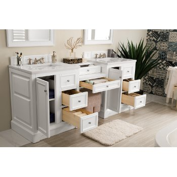 82'' Bright White 3cm Arctic Fall Top Door / Drawer Opened View
