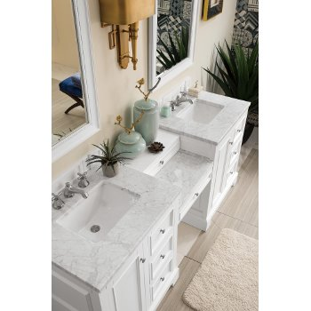 82'' Bright White 3cm Carrara Marble Top Overhead View