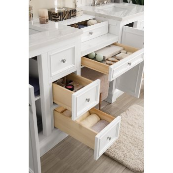 82'' Bright White 3cm Arctic Fall Top Drawer Opened View