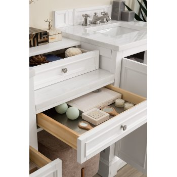 82'' Bright White 3cm Arctic Fall Top Drawer Close Up View