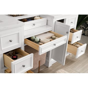82'' Bright White 3cm Arctic Fall Top Drawer Opened Side View