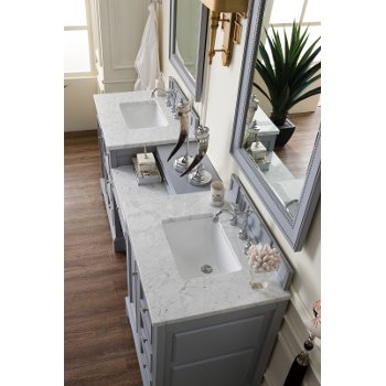 82'' Silver Gray 3cm Carrara Marble Top Overhead View