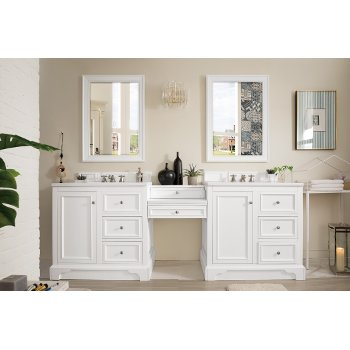 De Soto 82 W Or 94 W Double Bathroom Vanity Set With Makeup Table Satin Nickel Hardware Multiple Base Finishes And Countertop Options By James Martin Furniture Kitchensource Com