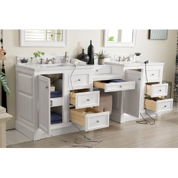 94'' Bright White 3cm Snow White Top Door / Drawer Opened View