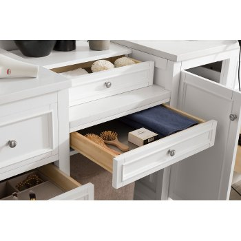94'' Bright White 3cm Snow White Top Drawer Opened Side View