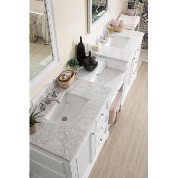 94'' Bright White 3cm Carrara Marble Top Overhead View