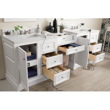 94'' Bright White 3cm Snow White Top Door / Drawer Opened View 2