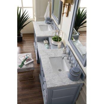 94'' Silver Gray 3cm Carrara Marble Top Overhead View