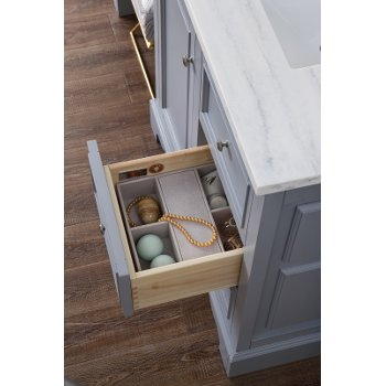 94'' Silver Gray 3cm Arctic Fall Top Drawer Opened Overhead View