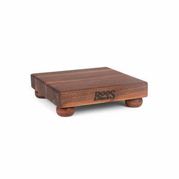 "John Boos Square Cutting Board with Bun Feet, 9"" x 9"" x 1-1/2"", Walnut Edge Grain"