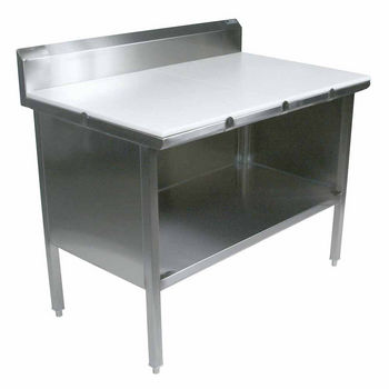 """Work Table with Poly Flat Top, 5"""" Riser and Open Front"""