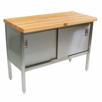 John Boos Table Tailors Stainless Steel Enclosed Stallion Work - Enclosed stainless steel work table
