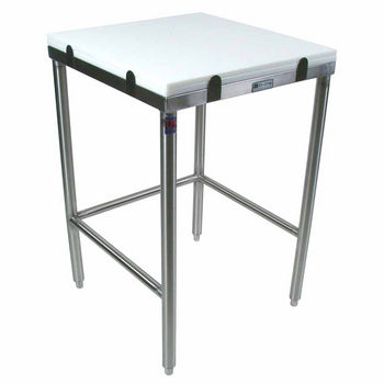 John Boos Poly Top Work Table w/ Stainless Steel Base & Bracing & Flat Top (Includes 2 Poly Tops)