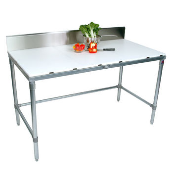 "John Boos Poly Top Work Table w/ Galvanized Base & Bracing & 6"" High Rear Riser"