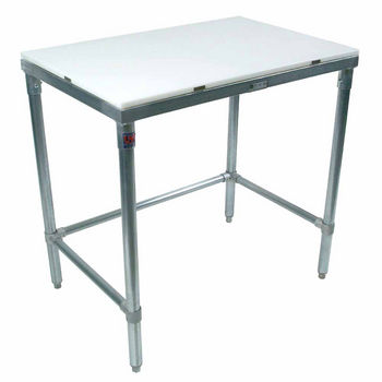 John Boos Poly Top Work Table w/ Galvanized Base & Bracing & Flat Top