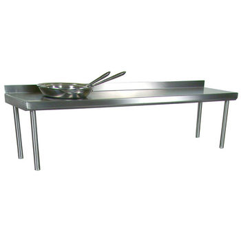 John Boos Stainless Steel Overshelf - For Stainless Steel Top Tables, Single Overshelf, Rear Mount