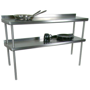 John Boos Stainless Steel Overshelf - For Stainless Steel Top Tables, Double Overshelf, Center Mount