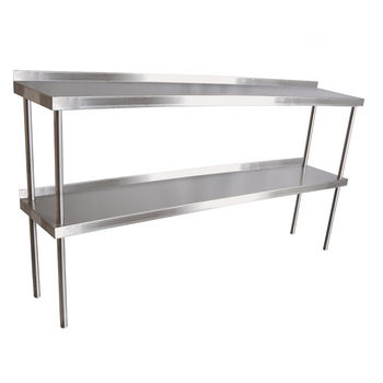 John Boos Stainless Steel Overshelf - For Maple Top Tables, Double Overshelf, Center Mount