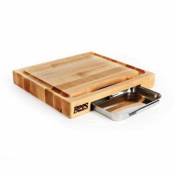 """John Boos Newton Prep Master Cutting Board, 15"""" W x 14"""" D x 2 1/4"""" Thick, Edge Grain, with Pan"""