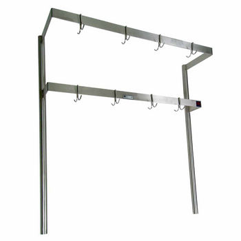 John Boos Double Bar Stainless Steel Pot Rack with Removable Hooks - Table Mount, Includes 6 Hooks