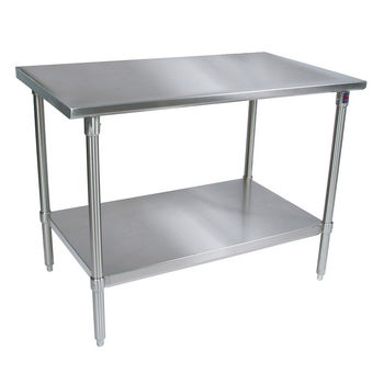 John Boos Stainless Steel Work Table w/ Stainless Steel Base, Shelf & Legs, Flat Top