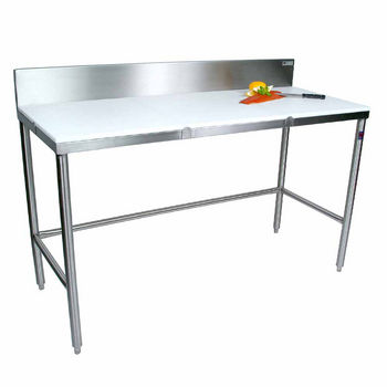 """John Boos Poly Top Work Table w/ Stainless Steel Base & Bracing & 6"""" High Removable Rear Riser"""