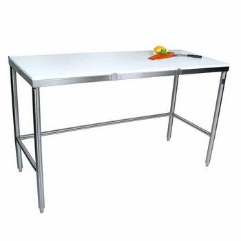 John Boos Poly Top Work Table w/ Stainless Steel Base & Bracing & Flat Top
