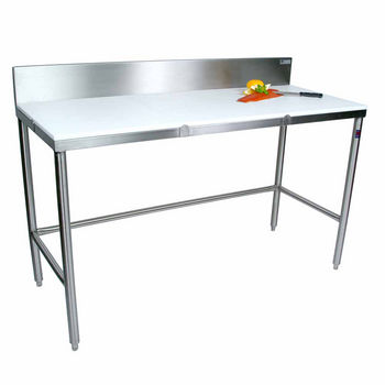"""John Boos Poly Top Work Table w/ Stainless Steel Base & Bracing & 6"""" High Boxed Non-Removable Rear Riser"""
