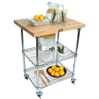 "John Boos Metro Wire Cart, Blended Maple, 27""W x 21""D x 36""H"