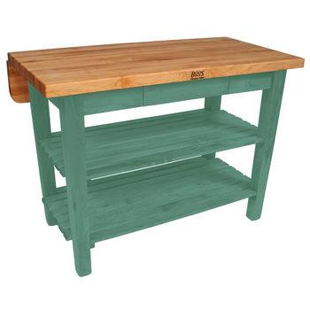 John Boos Kitchen Island Bar Work Table, 48in x 32in, Basil