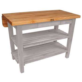 John Boos Kitchen Island Bar Work Table, 48in x 32in, Useful Gray Stain