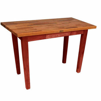 "John Boos Oak Table Boos Block, 48""W x 25""D x 35""H, Without Shelf, Barn Red"